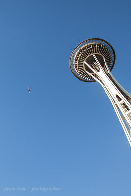 Plane flying past the Space Needle, Seattle