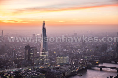 Aerial view of The Shard at sunset, London