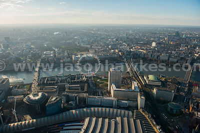 Aerial view of Waterloo and the London Eye, London