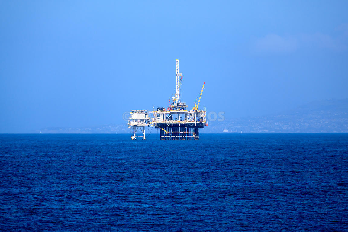 Offshore Oil Platform Rig on the Pacific Ocean