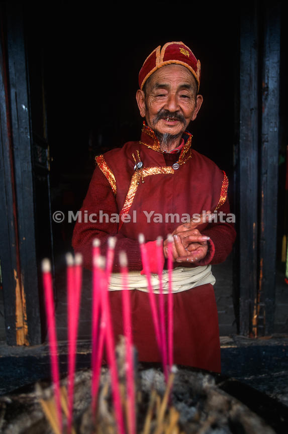 Lama at 300 year old lamasery outside of Lijiang. Lama knew Joseph Rock..Lijiang, Yunnan, China