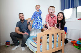 Dargavel Village, Bishopton.4.10.14.Lynn and Craig McClelland with kids Ryan (2) and Sofia (5) in their Taylor Wimpey home in...
