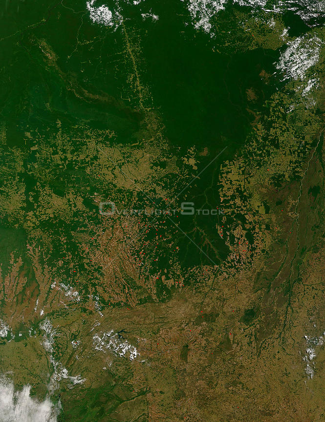 EARTH Brazil -- Jun 2006 -- In the Brazilian state of Mato Grosso, verdant green Amazon Rainforest is broken up by broad trac...