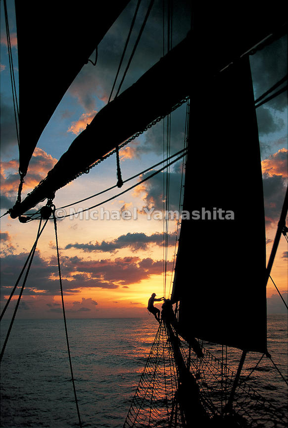 Sanjeeda, one of the last great sailing dhows, sails into the sunset off the Swahili coast.