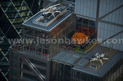 Aerial view of a bar on the roof of the Heron Tower, London