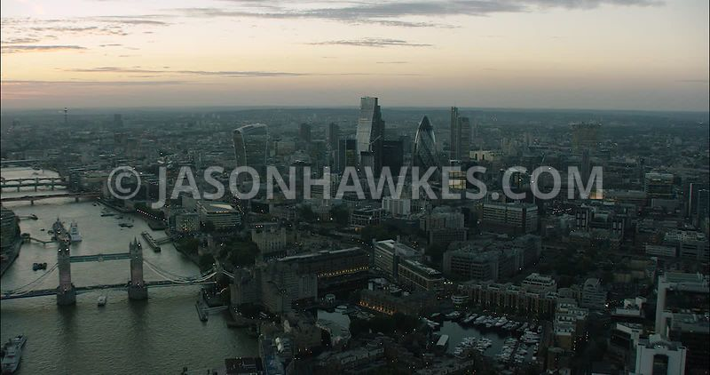 London Aerial Footage of River Thames with Tower Bridge and The Shard.