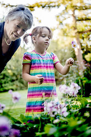 Grandmother and child picking flowers #4