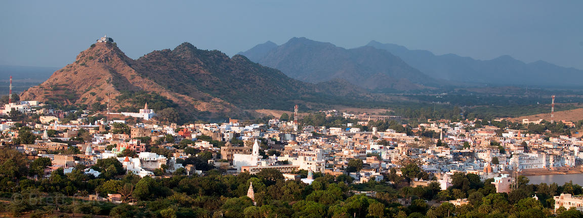Elevated view of the holy city of Pushkar, Rajasthan, India