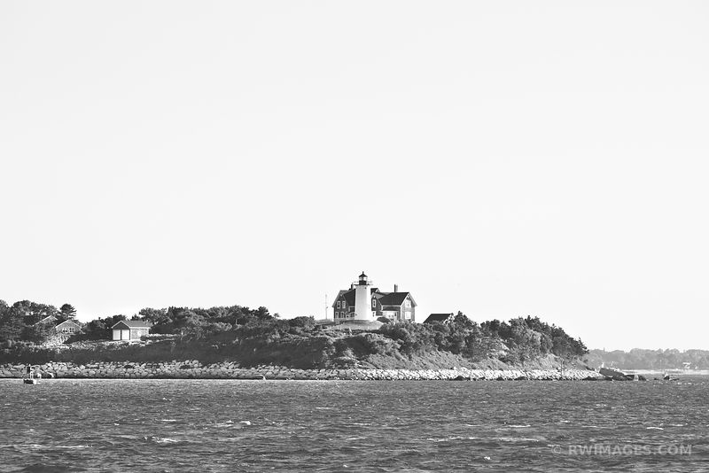VINEYARD SOUND AND NOBSKA LIGHTHOUSE BLACK AND WHITE