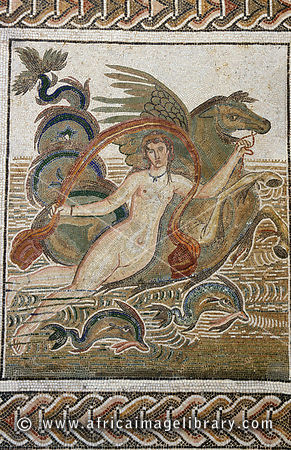 Museum of El-Jem, mosaic, nymph on a seahorse, 2nd century, El-Jem (Thydrus), Tunisia