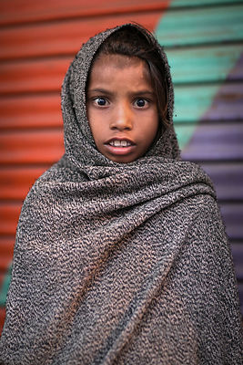 Portrait of a girl on pilgrimage to Pushkar, Rajasthan, India