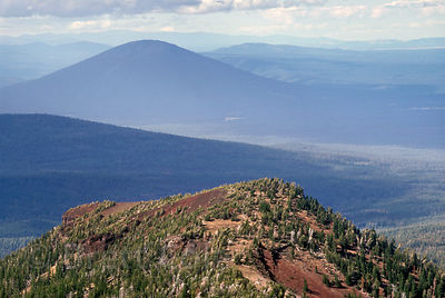 Forested wilderness stretches in all directions in the eastern portion of Three Sisters Wilderness, Oregon Cascades