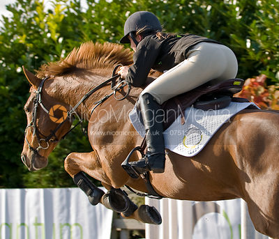 Show Jumper using the new Quantum Saddle, Di Lampard's Yard, Nr Oakham, Rutland.