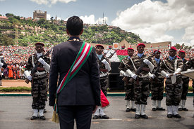 Andry Rajoelina reviews the troops during the inauguration ceremony that officialy giving him the title of President of the R...