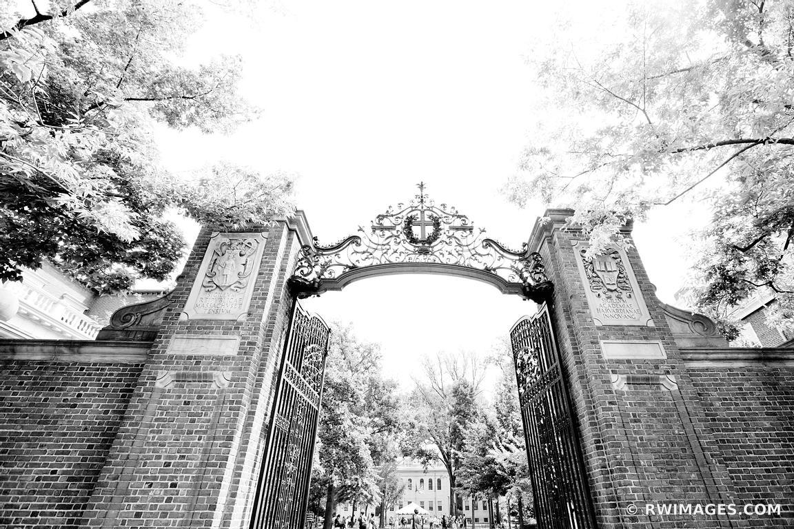 Harvard university gate cambridge massachusetts black and white