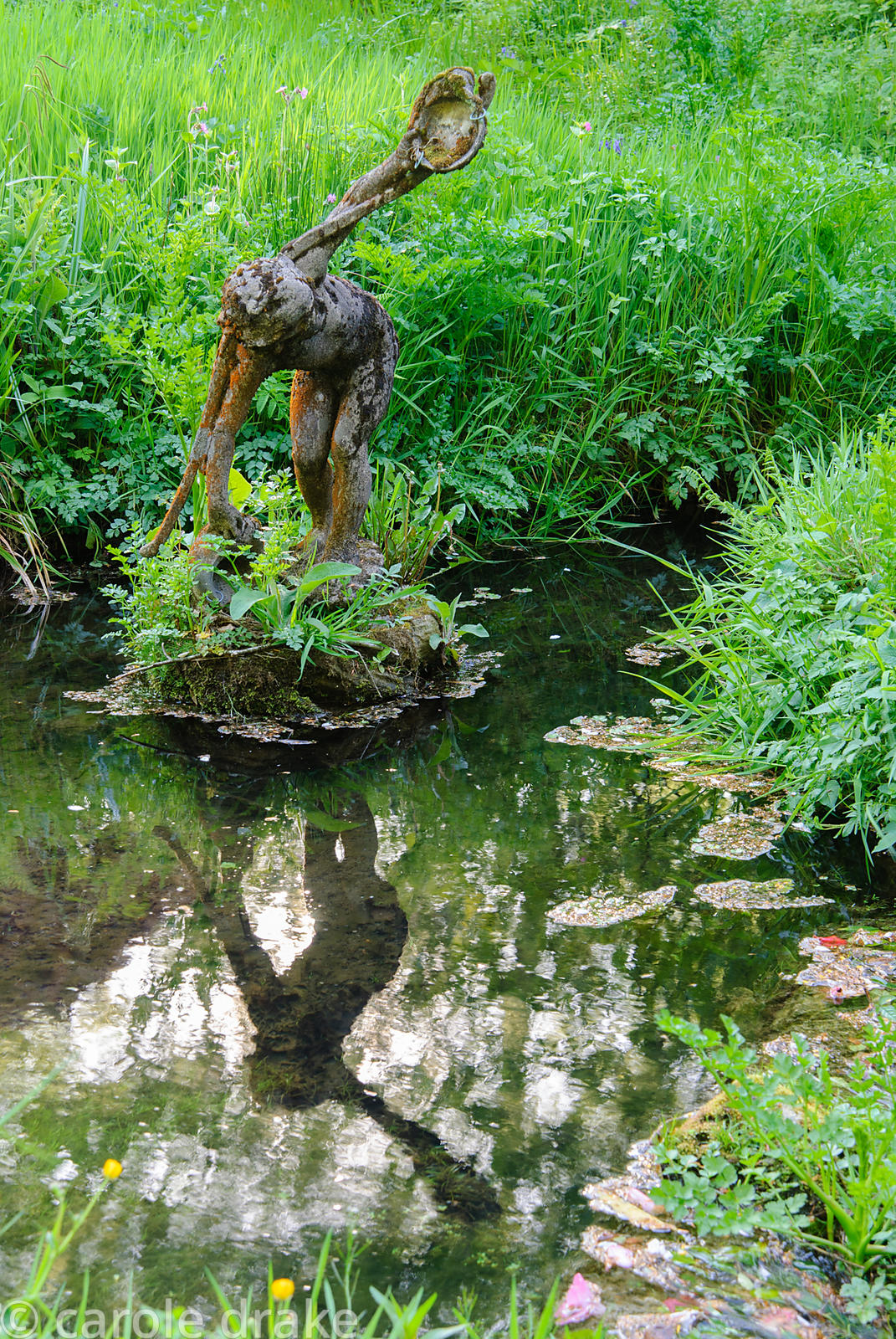 Figure of the water carrier in the Addicombe Brook, flowing down from Dartmoor and through the garden. Lukesland, Harford, Iv...