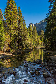 View of Merced River in Autumn from Pohono Bridge in Yosemite Valley