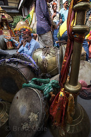 Traditional instruments at the celebration of Dussehra in Kullu, India