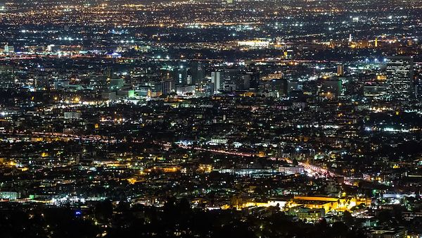 Tighter Bird's Eye View of Korea Town & Mid City (Night Shot)