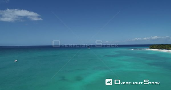 Caribbean sea . Flight backward low level . Saona Island, Dominican Republic