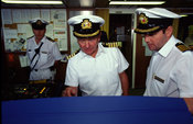 The Captain and crew on the bridge of the P&O liner Oriana