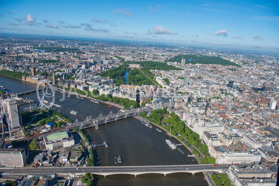 London Aerial view Embankment  View. Victoria Aerial of