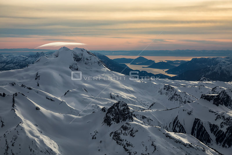 Garibaldi Mountians with Howe Sound in the Background in Winter BC Canada