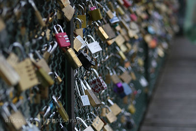Love locks on a bridge over the River Seine, Paris, France