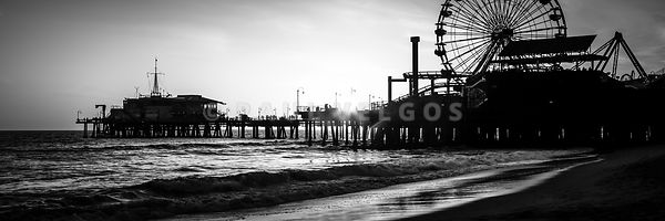 Santa Monica Pier Panorama Black and White Photo