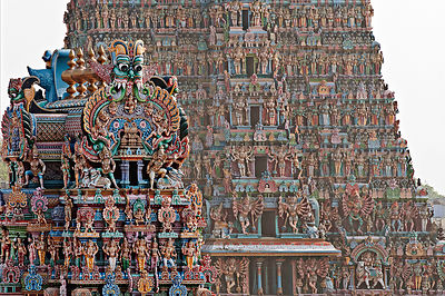 This photograph captures intricately and beautifully done architectural masterpiece i.e.the Meenakshi Amman Temple, Madurai.