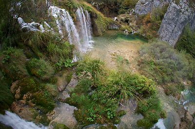 Aerial view of waterfalls flowing into the lakes of Plitvicka Jezera National Park, Croatia, October 2012. Taken for the Fres...