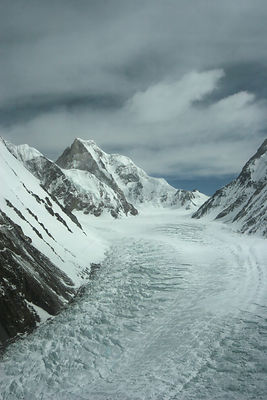 Aerial view of K2 and glaciated valley of Concordia, Karakoram Mountains, Himalayas, Pakistan. From Pakistani military helico...