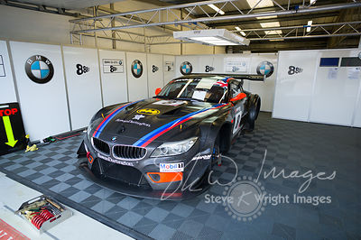 Triple Eight Race Engineering BMW Z4 GT3 in the pits, pre-race, at the Silverstone 500 - the third round of the British GT Ch...