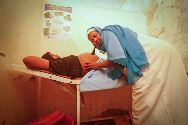 A woman has a pre-natal checkup in Wete Hospital, in Pemba, 2010.