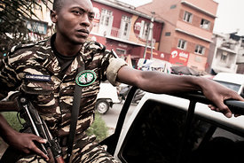 A gendarme patrols near a polling station in the Anosy district of Antananarivo on October 24, 2013. Poverty-wracked Madagasc...