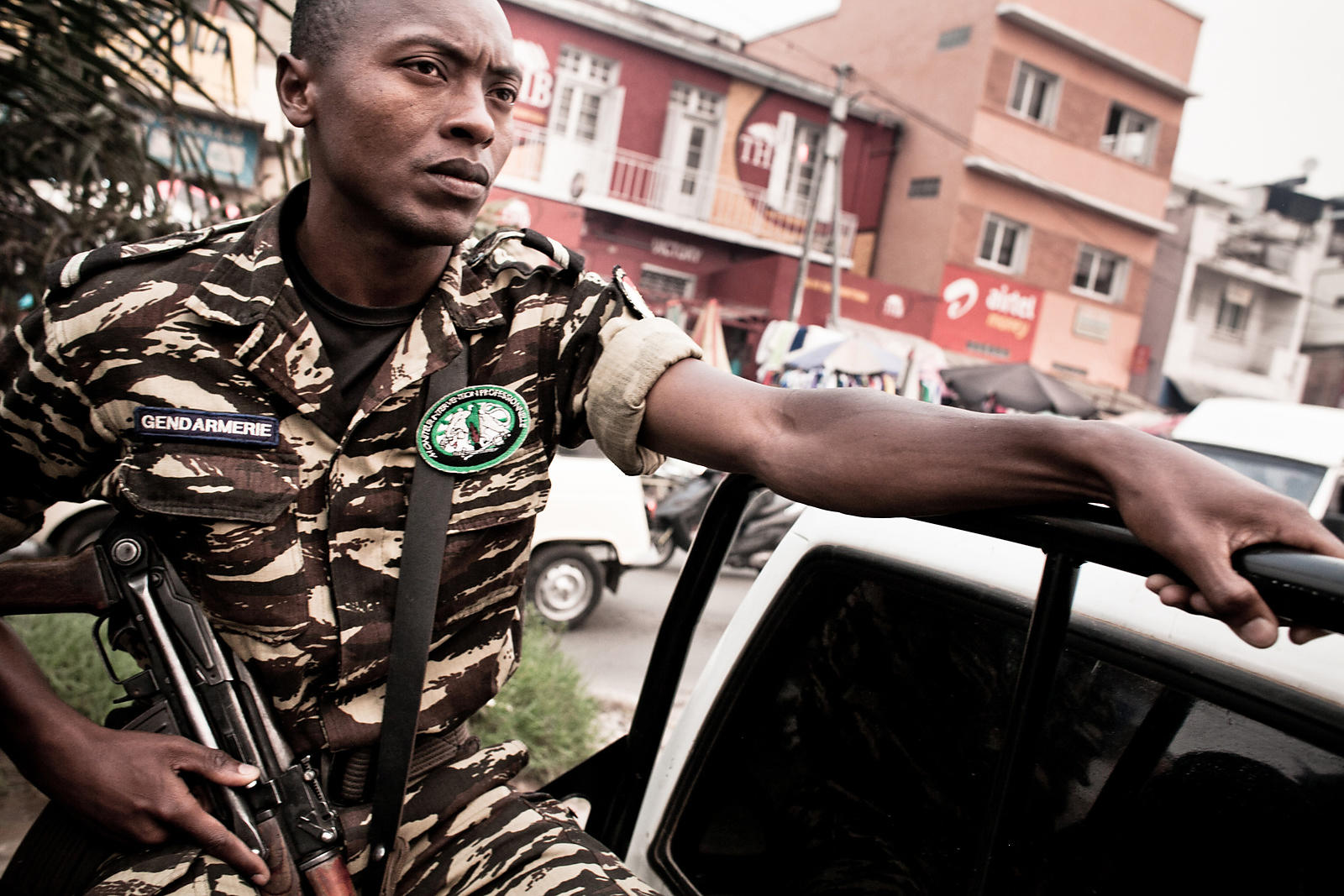 A gendarme patrols near a polling station in the Anosy district of Antananarivo on October 24, 2013. Poverty-wracked Madagascar votes on october 25 in long-delayed elections expected to restore democracy and pull the vanilla-rich country out of the rut it sunk into after a 2009 coup. With 33 candidates on the ballot paper and no clear favourite, chances of a first-round winner appear slim, raising the possibility of a run-off in eight weeks' time. Main political players, including strongman Andry Rajoelina and the man he toppled in March 2009, Marc Ravalomanana -- have been barred from the election to avoid their long-running political wrangling from jeopardising the vote.