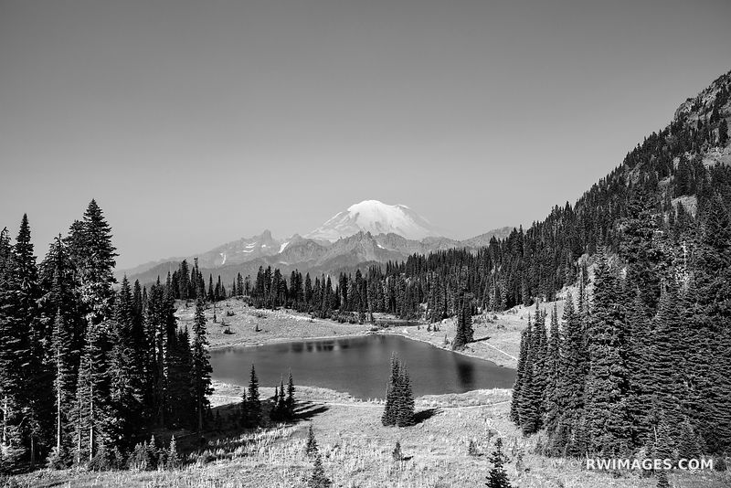 TIPSOO LAKE MOUNT RAINIER WASHINGTON BLACK AND WHITE LANDSCAPE
