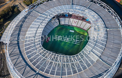 Aerial view of London Stadium, West Ham Stadium, London.