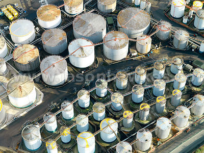 Aerial view of Gas Cylinders, Power Station