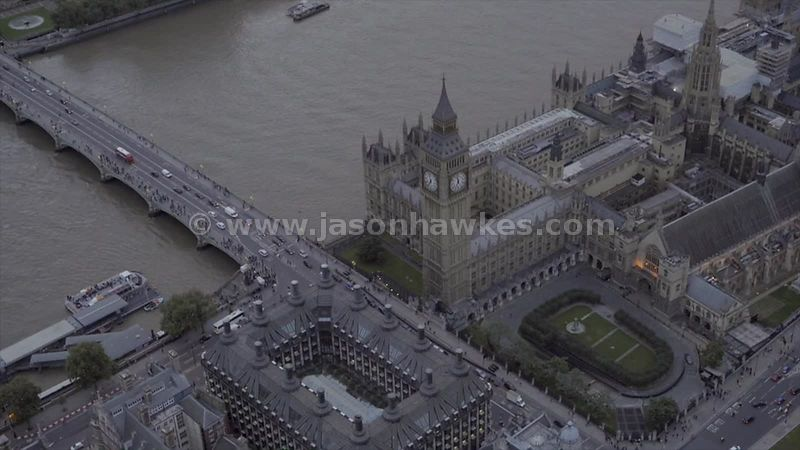 Close-up aerial footage of the Houses of Parliament