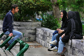 Tehran, Veiled young girls and young men mix together on Tehran University campus. PHOTO:ALFRED... ....