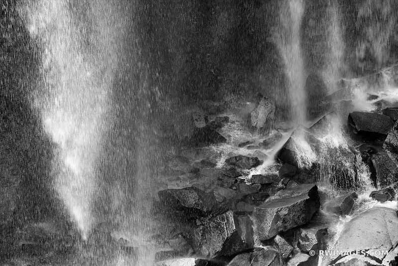 NARADA FALLS MOUNT RAINIER NATIONAL PARK WASHINGTON BLACK AND WHITE NATURE ABSTRACT WATER