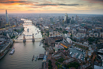 Dusk aerial view of Tower Bridge, River Thames, City of London.