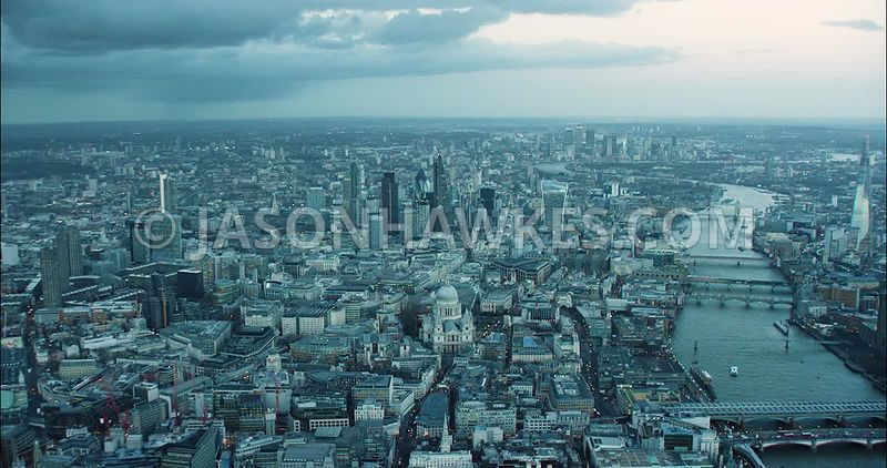 London Aerial Footage of St Paul's Cathedral towards City of London skyline.
