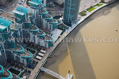Aerial view of St George Wharf, Vauxhall, London