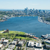 Lake Union, Gasworks Park, and downtown skyline; Seattle, WA
