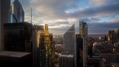 Bird's Eye: Golden Sunlight, Golden Buildings, & Dappling Stratocumulus