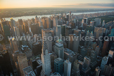 Aerial view of the skyscrapers in Midtown Manhattan including the Chrysler Building