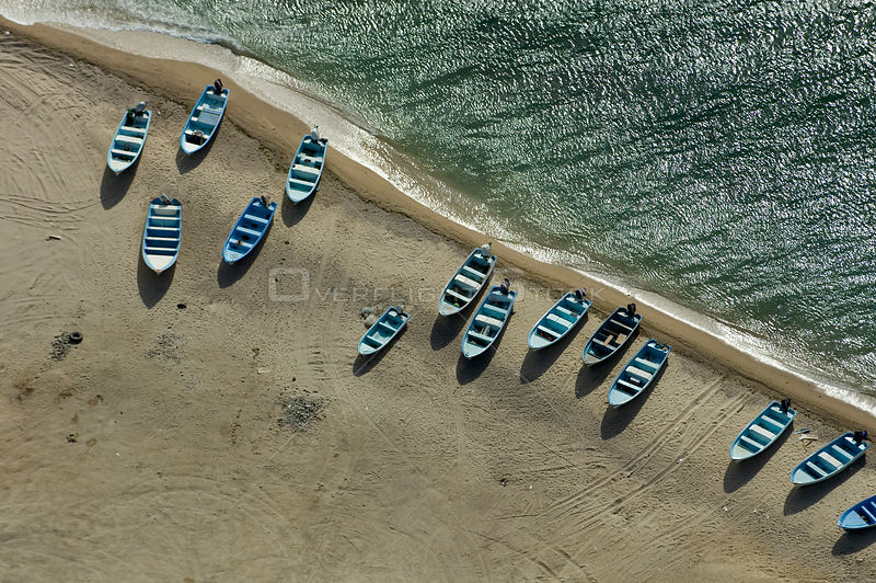 Aerial view of boats hauled up on beach, Rosarito, Baja California, Mexico, April 2008