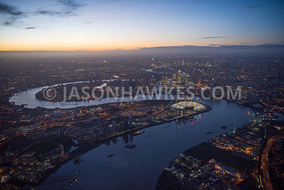 Night aerial view of the O2 Arena, Greenwich, Greenwich peninsula, london, Millenium Dome, night, O2 Arena, river thames